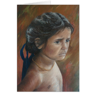 Girl with Blue Ribbons Greeting Cards