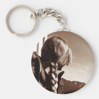 Girl with Braided Golden Hair Basic Round Button Keychain