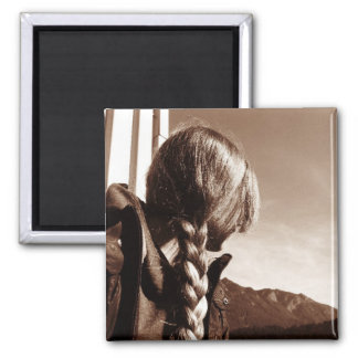 Girl with Braided Golden Hair Magnet