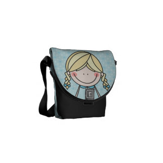 Girl with Braids and a Big Smile Messenger Bag