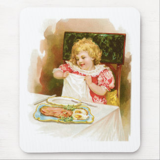 Girl with Breakfast Vintage Food Ad Art Mouse Pad