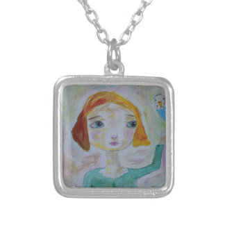 Girl with Budgie Silver Plated Necklace