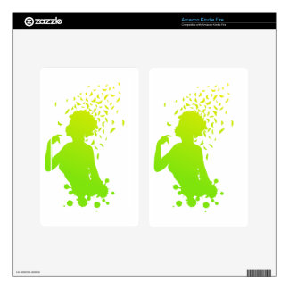 Girl with butterflies 2 decal for kindle fire