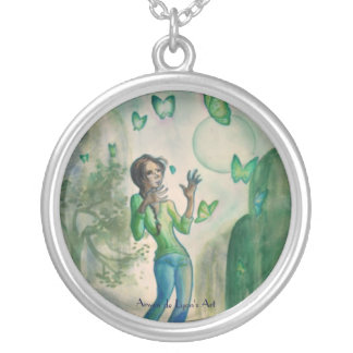 Girl With Butterflies Round Pendant Necklace