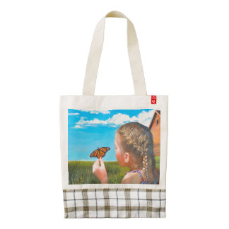 Girl with Butterfly Original Painting HEART Tote