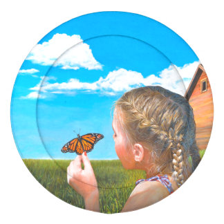 Girl with Butterfly Painting Large Button Covers