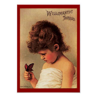 Girl with Butterfly Poster