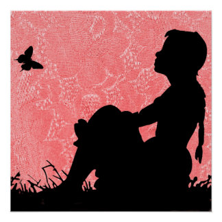 GIRL WITH BUTTERFLY SILHOUTTE-POSTER POSTER