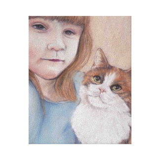 Girl with Calico Cat Canvas Print