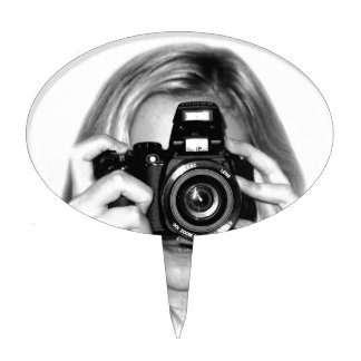 Girl with camera cake toppers