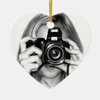 Girl with camera ceramic ornament