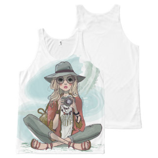 Girl with camera illustration tank top