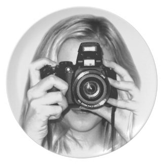 Girl with camera party plates