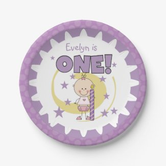 Girl With Candle 1st Birthday Paper Plates 7 Inch Paper Plate