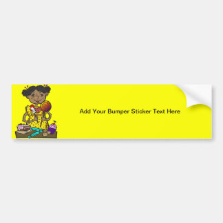 Girl With Candy and Cakes Bumper Sticker