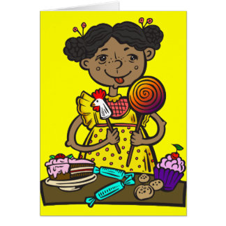 Girl With Candy and Cakes Card