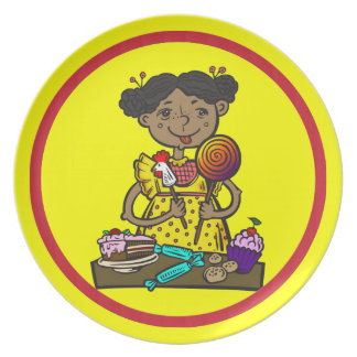 Girl With Candy and Cakes Melamine Plate