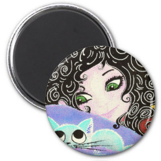 girl with cat 1 2 inch round magnet