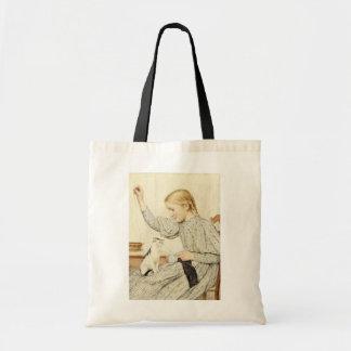 Girl with Cat, Albert Anker Tote Bag