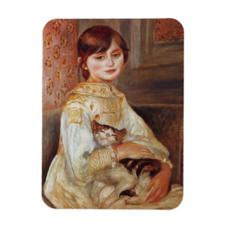 Girl with Cat, Auguste Renoir Flexible Magnets
