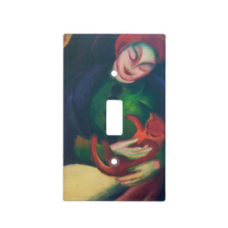 Girl With Cat II by Franz Marc Light Switch Cover