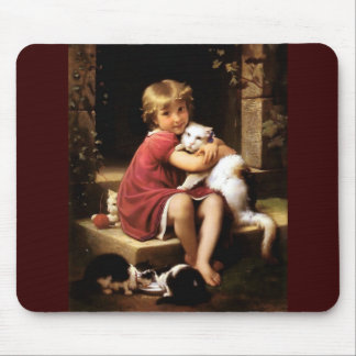 Girl with Cat Pets painting Mouse Pad
