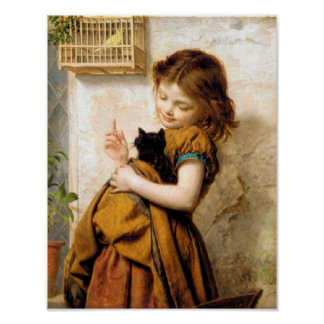 Girl with Cat Poster