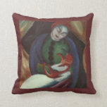 Girl with Cat, Vintage Art Pillow
