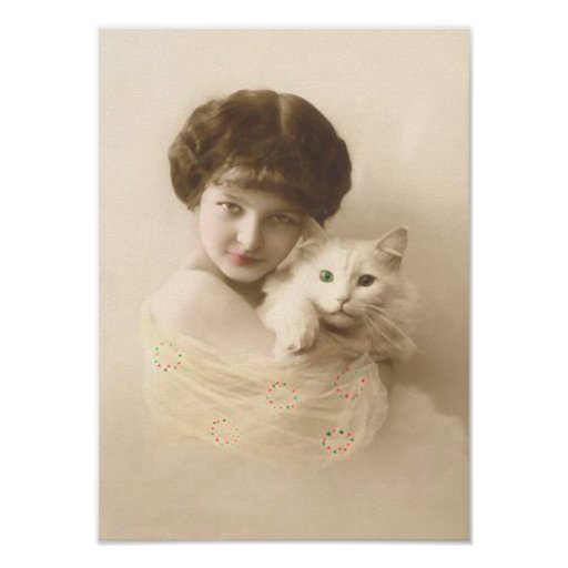 Girl With Cat Vintage Fine Art Poster