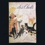 """Girl with Cats, Alexandre Steinlen Kitchen Towel<br><div class=""""desc"""">Th&#233;ophile Alexandre Steinlen, frequently referred to as just&#160;Steinlen&#160;(November 10, 1859 – December 13, 1923), was a&#160;Swiss-born&#160;French&#160;Art Nouveau&#160;painter and printmaker. In addition to paintings and drawings, he also did sculpture on a limited basis, most notably figures of cats that he had great affection for as seen in many of his paintings....</div>"""