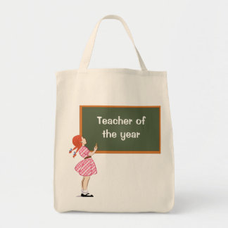 Girl with chalkboard tote bags