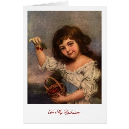 Girl with cherries - Valentine Card