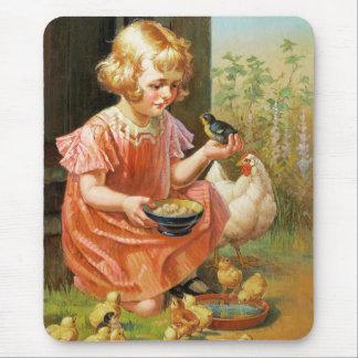 Girl with Chicks. Fine Art Easter Gift Mousepad