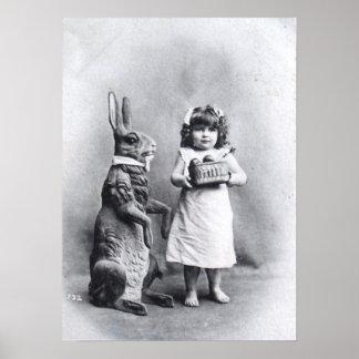 Girl with Chocolates and Easter Bunny Print