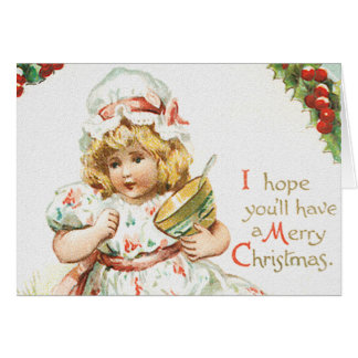 Girl with Christmas Bonnet Greeting Cards