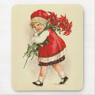 Girl with Christmas Flowers Mouse Pad