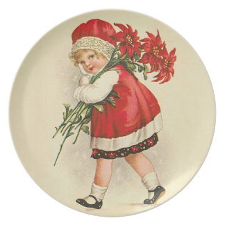 Girl with Christmas Flowers Plates