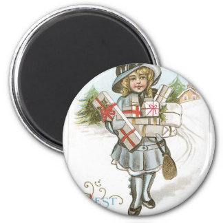 Girl with Christmas Presents Magnet