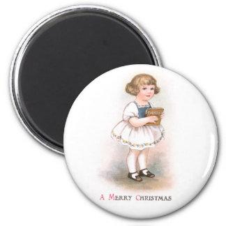 Girl with Christmas Song Book Vintage Christmas Magnet