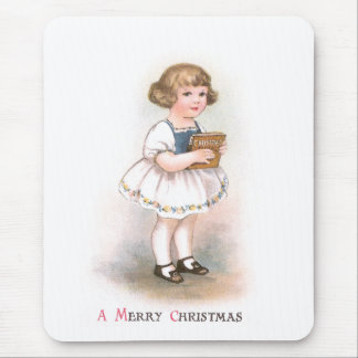 Girl with Christmas Song Book Vintage Christmas Mouse Pad