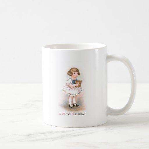 Girl with Christmas Song Book Vintage Christmas Coffee Mugs