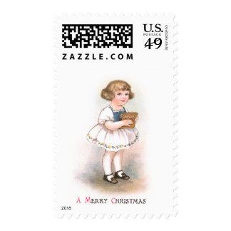 Girl with Christmas Song Book Vintage Christmas Postage Stamp