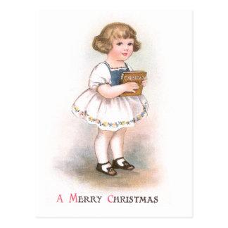 Girl with Christmas Song Book Vintage Christmas Postcard