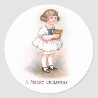 Girl with Christmas Song Book Vintage Christmas Sticker