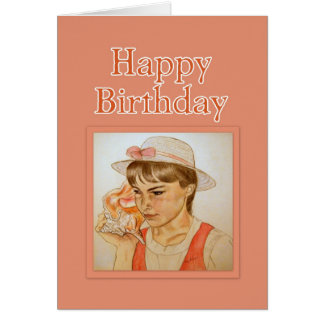 Girl With Conch Shell Happy Birthday Card