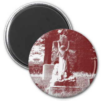 Girl with cross headstone 2 inch round magnet