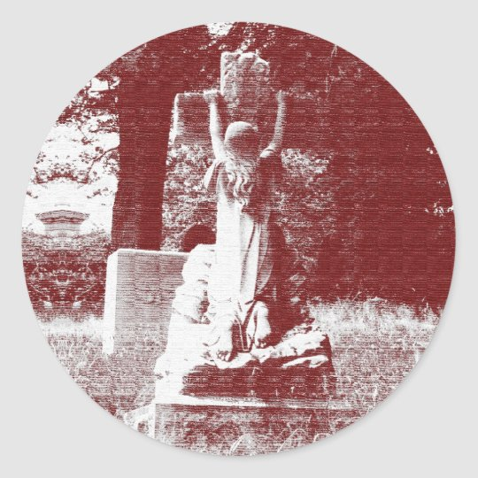 Girl with cross headstone classic round sticker