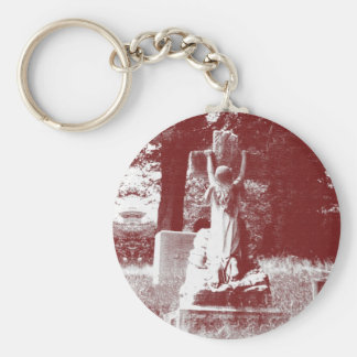 Girl with cross headstone keychain