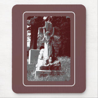 Girl with cross headstone mouse pad