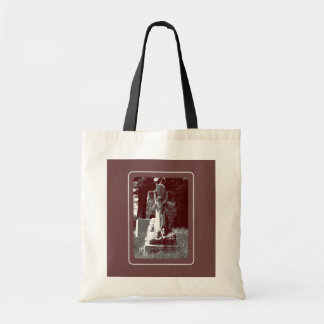 Girl with cross headstone tote bag
